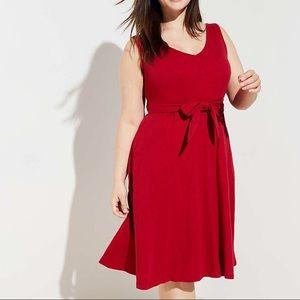 NWT Loft Plus Tie Waist Pocket Dress in Rio Red